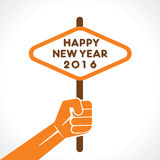 Happy new year 2016 design. Happy new year 2016 banner hold in hand design vector illustration