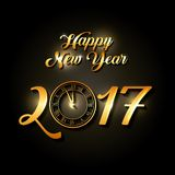 Happy new year design. Happy new year 2017 card with clock icon. colorful design. vector illustration Stock Photos