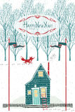 Happy New year design card with a house in the winter forest. Happy New year design card with a house and a red fox in the winter forest stock illustration
