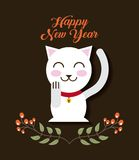 Happy new year design. Happy new year card with iconic japanese kitten and decorative branches with leaves icon over black background. colorful design vector illustration