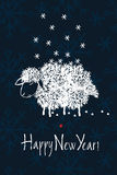 Happy New year design card with sheep and snow Royalty Free Stock Photos