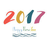Happy New Year 2017 Design card Stock Photos