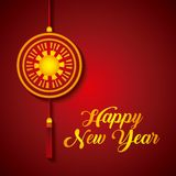 Happy new year design. Chinese decoration hanging over red background. happy new year concept. colorful design. illustration royalty free illustration