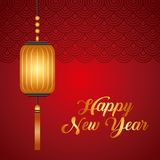 Happy new year design. Chinese lantern hanging icon over red background. happy new year concept. colorful design. illustration vector illustration