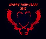 Happy New Year. The design of the composition with a cock for the New Year 2017 Stock Images