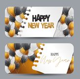 Happy New Year design concept. Gift card or voucher. Black, white and golden balloons under torn out sheet of paper.