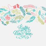Happy New Year design concept in the hand drawing Stock Photos