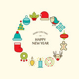 Happy New Year design concept in the hand drawing Stock Photo
