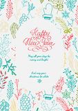 Happy New Year design concept in the hand drawing Stock Photography