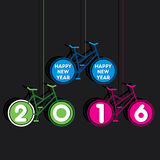 Happy new year 2016 design. Creative colorful new year 2016 greeting design with use of bicycle concept Stock Photo