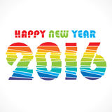 Happy new year 2016 design. Creative colorful random paper strip design new year 2016 greeting Royalty Free Stock Photo
