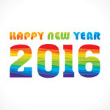Happy new year 2016 design. Creative colorful random paper strip design new year 2016 greeting Stock Photos