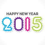 Happy new year 2015 design. Creative gear design pattern new year 2015 greeting font design vector illustration