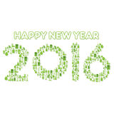 Happy new year 2016 design. Creative go green or eco city concept design new year 2016 vector illustration