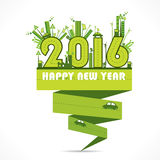 Happy new year 2016 design. Creative natural or eco-city , go green concept new year 2016 design Vector Illustration