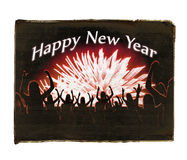 Happy New Year Design. Crowd at party with fireworks new year conceptual design graphic background Royalty Free Stock Photo