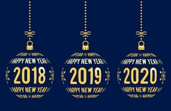 Happy New Year 2018, 2019, 2020 design elements. Happy New Year graphic elements for years 2018, 2019, 2020. Christmas balls with text Happy New Year and years Royalty Free Stock Image
