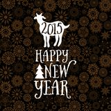 Happy New Year design, geometric backdrop. typography composition with lettering. Goat silhouette 2015. Flower pattern. Royalty Free Stock Image