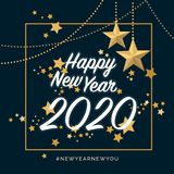 Happy new year design with golden stars royalty free illustration
