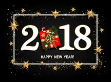 Happy new year design layout on black background with 2018. Gift. Box, gold confetti, stars, balls. Vector Royalty Free Stock Image