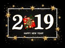 Happy new year design layout on black background with 2019. Gift. Box, gold confetti, stars, balls. Vector illustration stock illustration