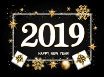 Happy new year design layout on black background with 2018. Gift. Box, gold confetti, stars,balls.Vector illustration royalty free illustration