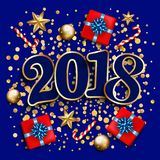 Happy new year design layout on blue background with 2018. Gift. Box, gold confetti, stars,balls. Vector illustration Stock Image