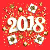 Happy new year design layout on red background with 2018. Gift b. Ox, gold confetti, stars,balls. Vector illustration Stock Image