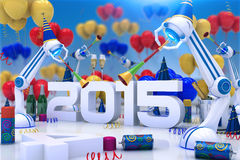 Happy new year 2015. Design made in 3D Royalty Free Stock Photo