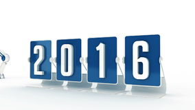 Happy new year 2016. Design made in 3D stock footage
