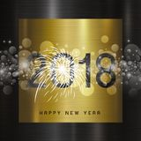 Happy new year 2018 design on metal background vector illustrati. On Stock Photos