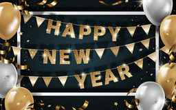 Happy New Year design. Realistic balloons frame with ribbons and flags elements in 3d illustration Stock Photo