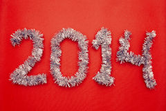 Happy new year 2014 design. Red background Stock Photography