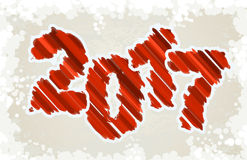Happy New Year Design. Red grunge paint brush style digits on li Royalty Free Stock Images