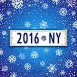 Happy New year 2016 design signboard. Creative Happy New Year label with date - 2016. Unusual Christmas design in the style of car license plate Royalty Free Stock Photos