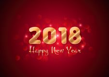 Happy New Year - 2018 design with stars and golden text. Superior Quality plus additional vector .eps file Royalty Free Stock Photography