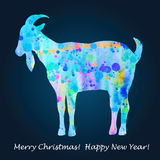Happy New Year design. Symbol of the 2015 year, watercolor goat. Vector illustration vector illustration