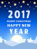 Happy 2017 New Year Design Template with Shining Sky, Moon and C. Oniferous Forest. Vector illustration Stock Photo