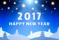 Happy 2017 New Year Design Template with Shining Sky, Moon and C. Oniferous Forest. Vector illustration Stock Photos
