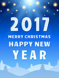 Happy 2017 New Year Design Template with Shining Sky, Moon and C. Oniferous Forest. Vector illustration Stock Photography