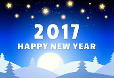 Happy 2017 New Year Design Template with Shining Sky, Moon and C. Oniferous Forest. Vector illustration Royalty Free Stock Photo