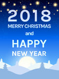 Happy 2018 New Year Design Template with Shining Sky, Moon and C Royalty Free Stock Photography