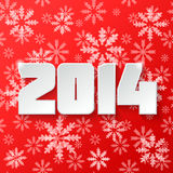 Happy new year 2014 design. Happy new year 2014 Text Design on red background wit snowflakes Stock Image