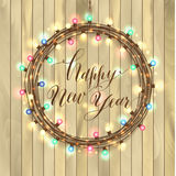 Happy new year design on wooden texture. Stock Images