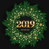Happy 2019 New Year Design With Wreath Made of Naturalistic L. Ooking Pine Branches Decorated with Gold Stars on black background. Vector stock illustration