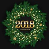 Happy New Year Design    With Wreath Made of Naturalistic Lookin. G Pine Branches Decorated with Gold Stars on black background. Vector Stock Photos