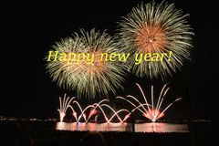 Happy new year with firwork. Festive, season. Happy new year is designed with firework in black background stock illustration