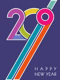 Happy 2019 new year. Diagonal colorful 2019 on blue background create dynamic, energetic, contemporary design. Happy Holidays, New Year concept. Vector royalty free illustration
