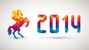 Happy new year 2014 with diamond horse Royalty Free Stock Image
