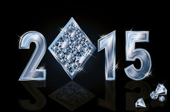 Happy 2015 New year diamonds poker. Vector illustration Stock Images